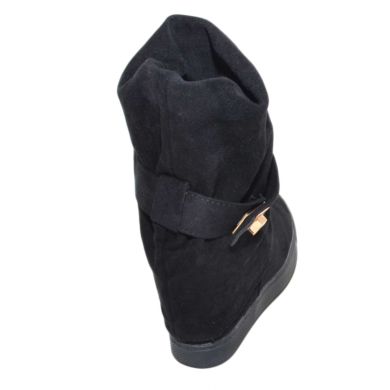 Sneakers alta donna zeppa interna art.221 nero in camoscio con fibbia oro  moda comfort d202f1475ee