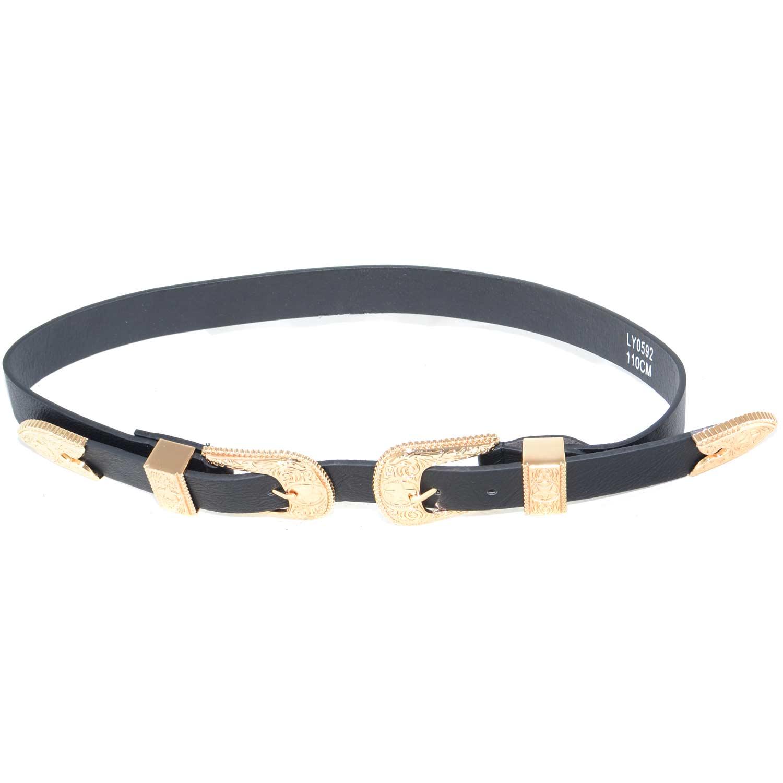 f8b1a9d849a Cintura donna art.323 nera con doppia fibbia oro eco pelle made in ...