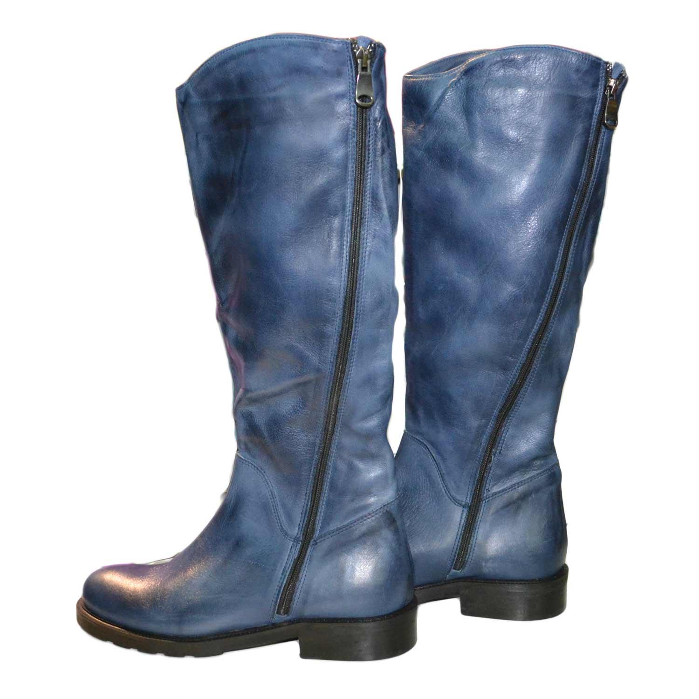 orologio 61ef8 bc562 Stivale alto con zip accessori vera pelle blu fondo classico donna stivali  Made In Italy | MaluShoes