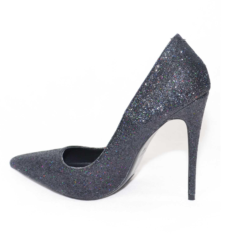 bc59bde9ac75 scarpe donna eleganti decollete glitter nero tinta unita elegante tacco a  spillo moda donna d collet  Malu Shoes