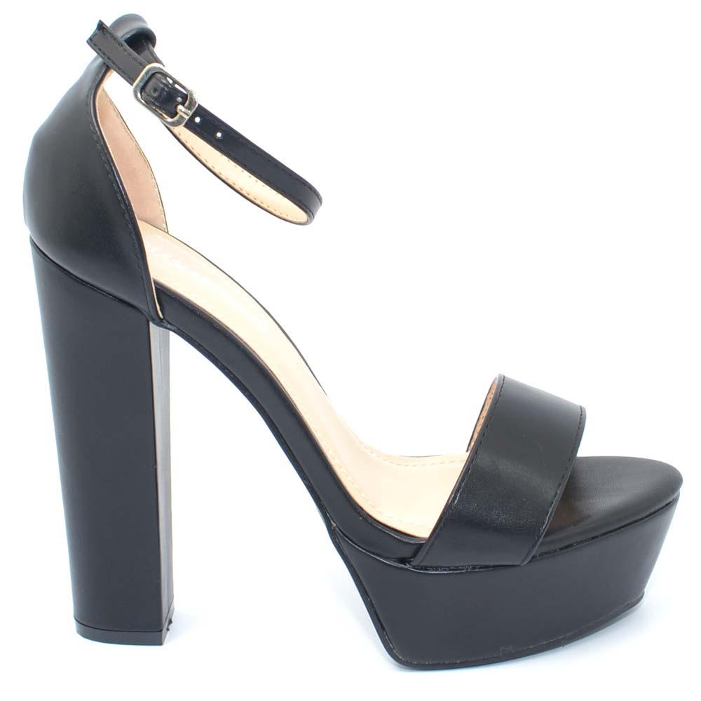 Sandalo donna nero in ecopelle tacco largo alto 15 cm plateau 4 cm cinturino alla caviglia linea basic moda tendenza donna sandali tacco Malu Shoes |