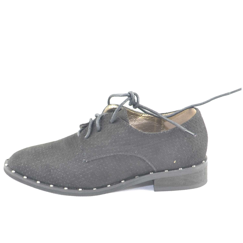 competitive price b87f6 d6f47 Scarpe donna francesine parigine estive camoscio nero forato fondo  applicazioni borchiate donna stringate francesine Malu Shoes   MaluShoes