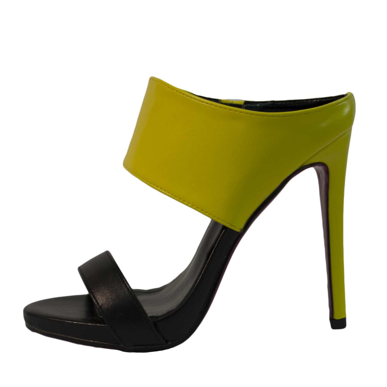 Scarpe donna alte decollete nero e giallo tacco chic glamour donna ... a4d1f1ea2a3