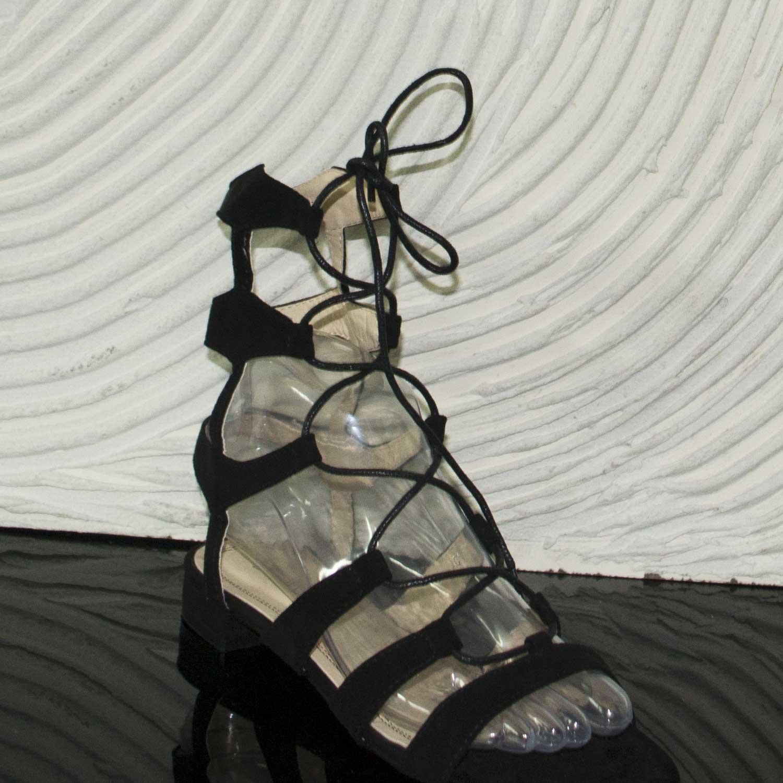 Glamour Sandali Tacco Nero Moda Basso Camoscio Lacci Donna Shqctrdx q4R3Ajc5LS