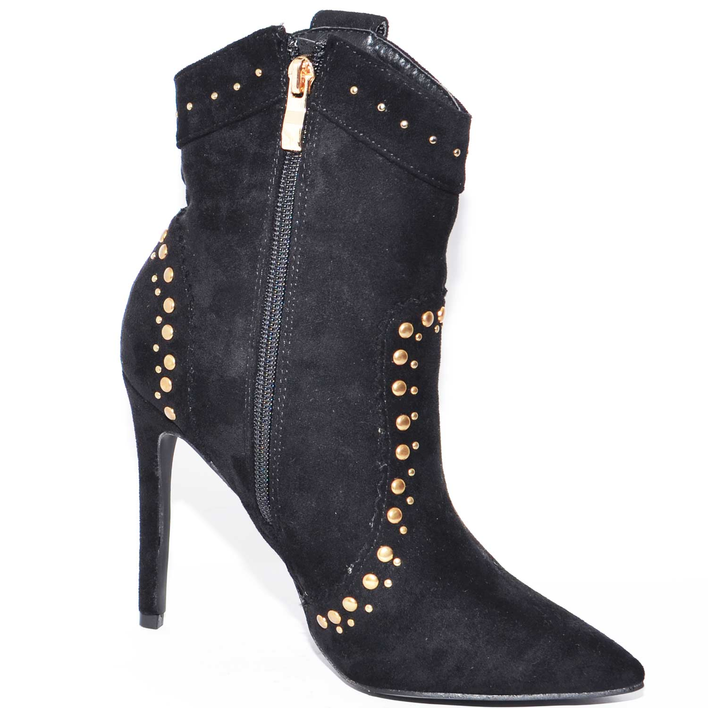 ee7513630df203 tronchetto camberos donna nero in nabuk a punta con tacco a spillo e  borchie dorate stile. Passa il mouse sopra per eseguire zoom