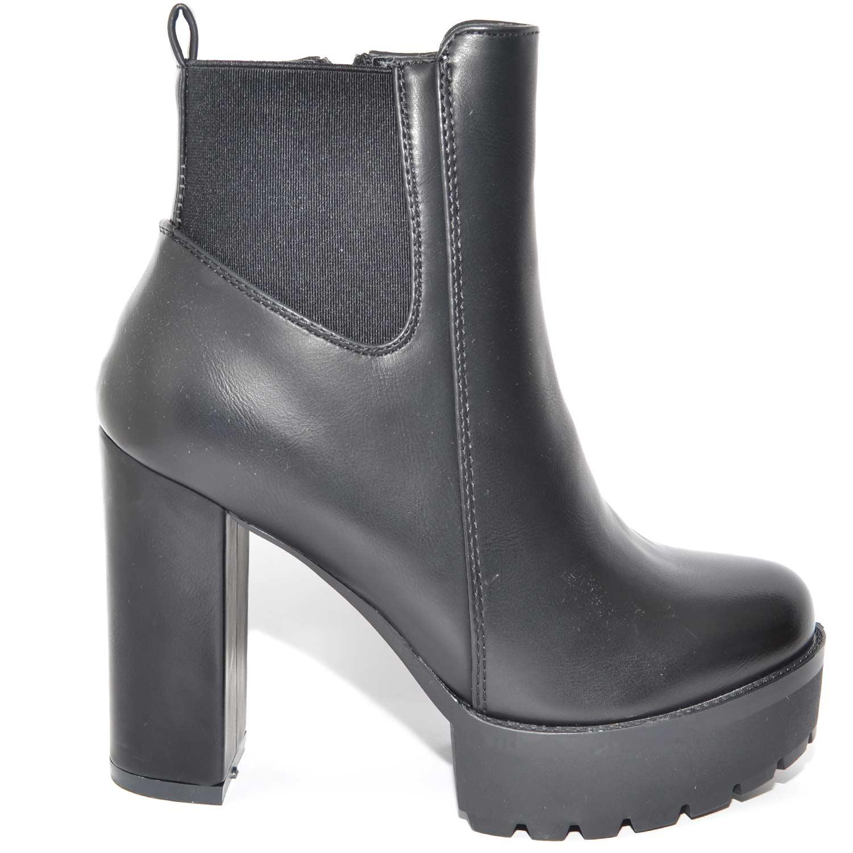best website 51d93 e654e TRONCHETTO BEATLES NERO CON PLATEAU E TACCO LARGO APPLICAZIONE LINEA BASIC  donna tronchetti Malu Shoes | MaluShoes
