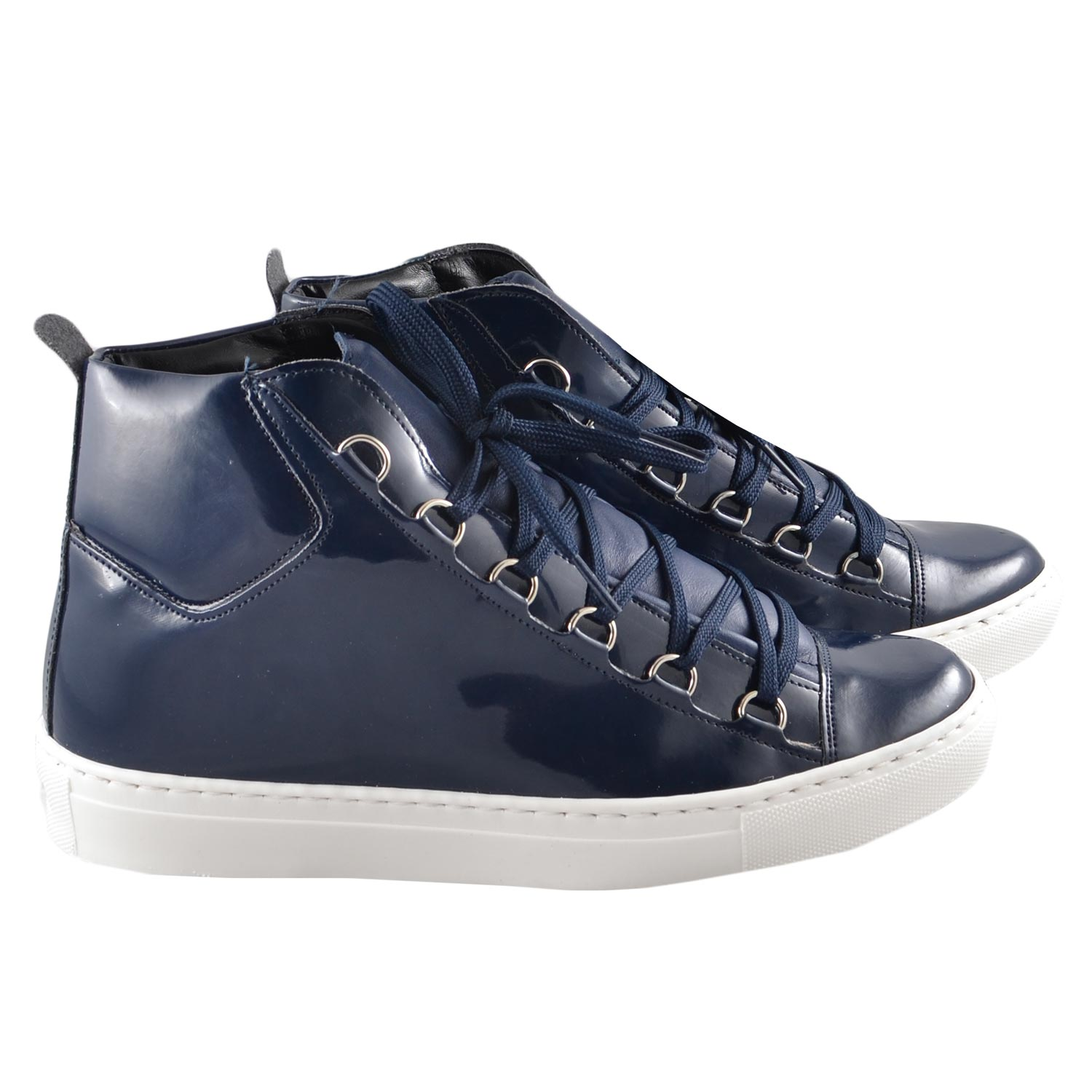 Sneakers alta balen blu lucido uomo sneakers alta Made in Italy | MaluShoes