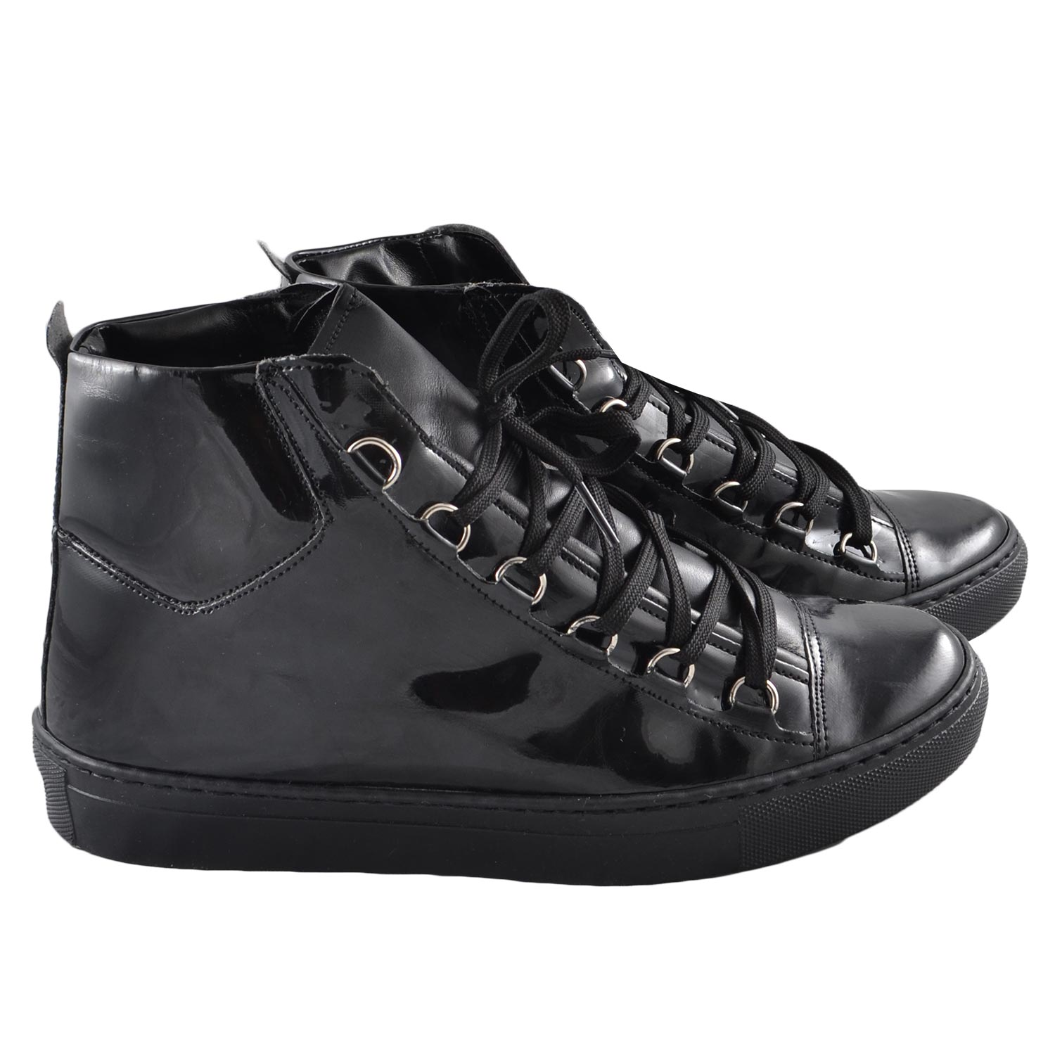 Sneakers alta balen nero lucido uomo sneakers alta Made in Italy | MaluShoes