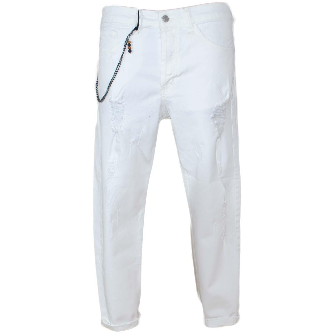 newest f54de 8d95b Pantaloni Jeans bianco denim biker. Skinny fit.Chiusura con bottone e  cerniera. strappi e tasche dettaglio catena uomo jeans made in italy |  MaluShoes