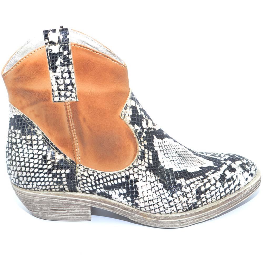 Stivaletti texani donna camperos in vera pelle vitello spazzolato cuoio bruciato e stampa pitonata handmade in italy donna stivaletti Malu Shoes |