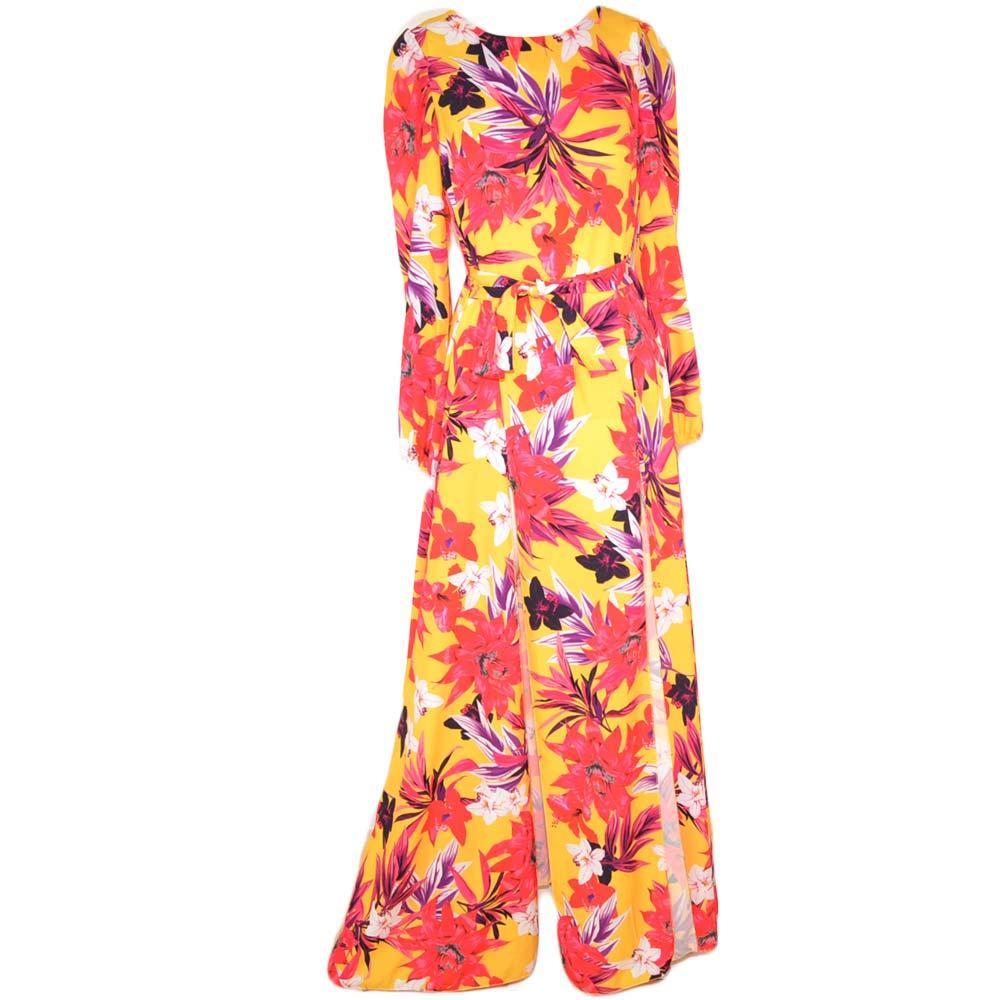 4d26da5e30aa Abito donna lungo floreale colorato spacco alto e manica a 3 4 taglio  impero e