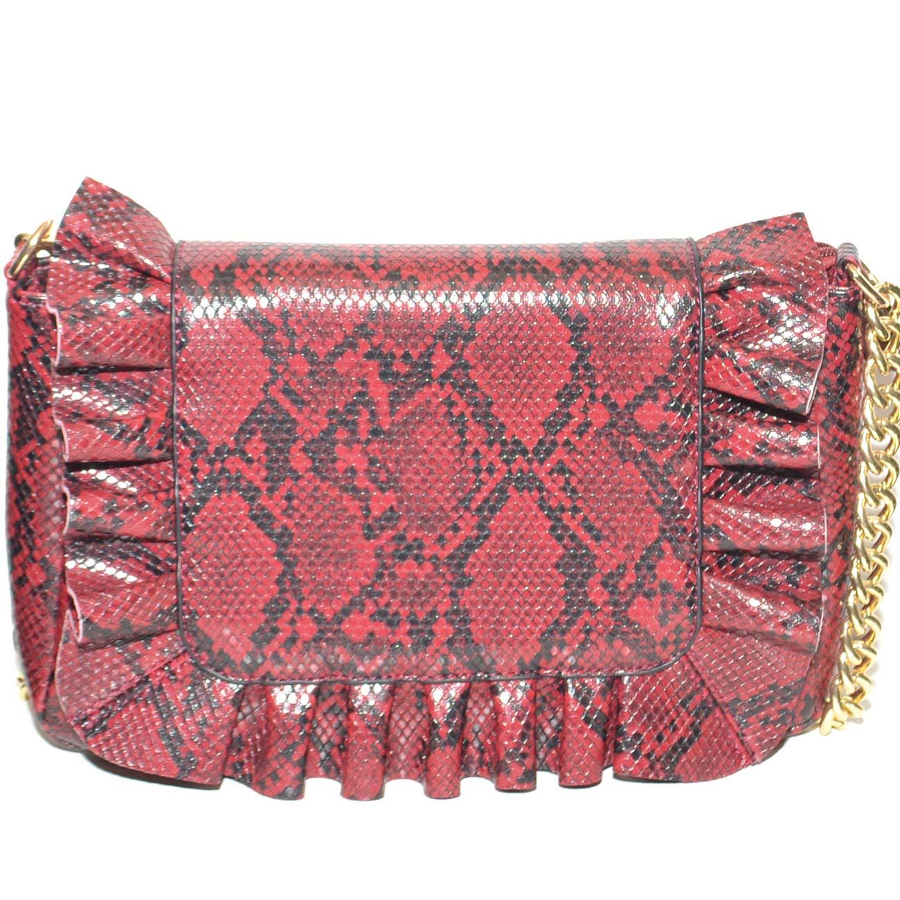 769b993756 Pochette donna borsa piccola rossa animalier con polsiera e catene ...