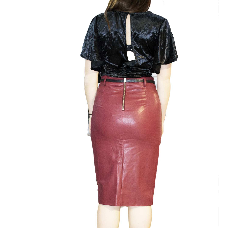 wholesale dealer c45a5 ddbaf Gonna lunga donna rossa sintetica pelle zip laterale moda trend art 55647  donna gonne crystal   MaluShoes