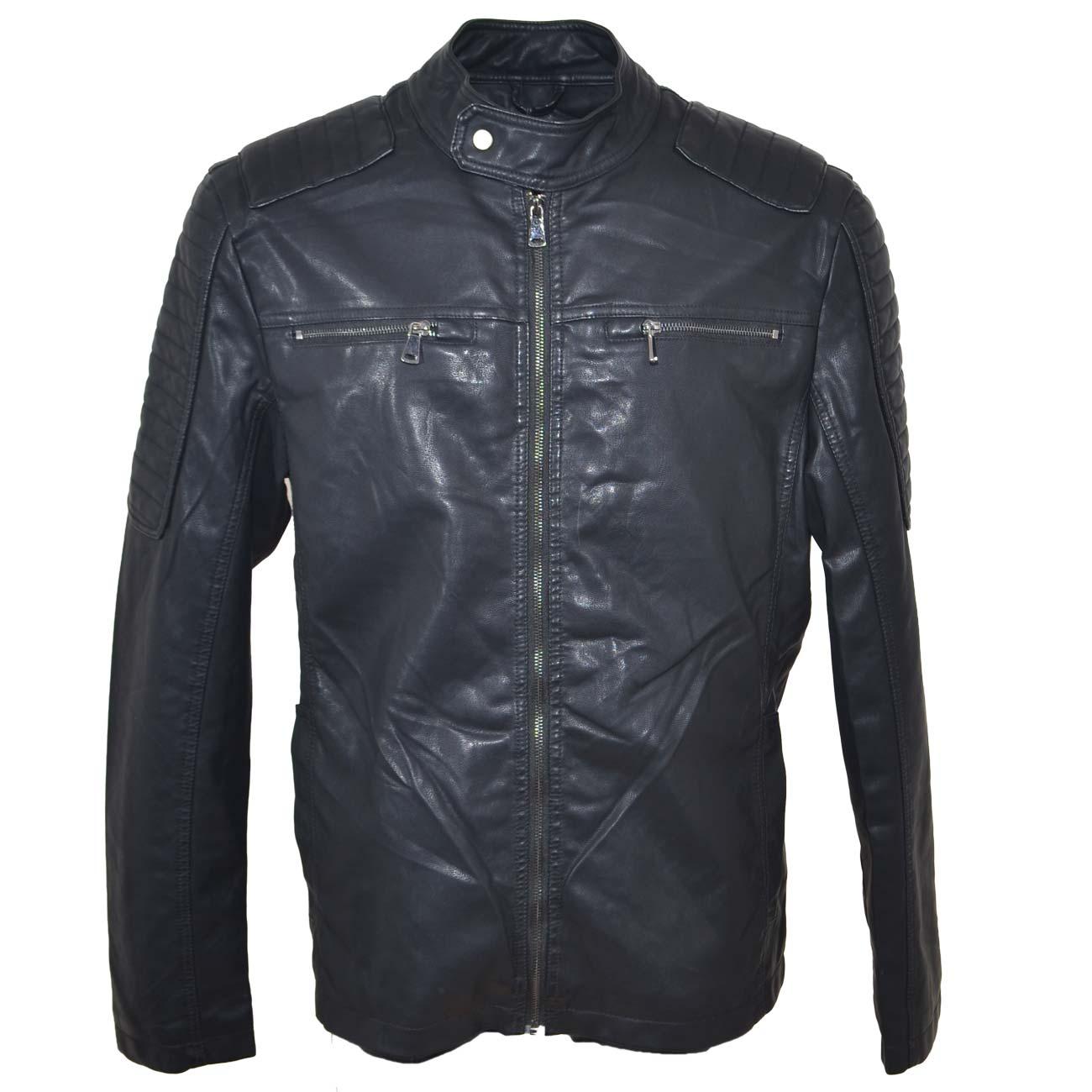reputable site 7e360 8e1f0 Giubbino giacca uomo in simil pelle con zip frontale spalle rinforzate  interno in pelliccia caldo e zip altezza petto uomo giubbini in pelle Malu  ...