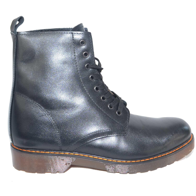 Scarpe uomo stivaletti fondo trasparente cucitura arancio antiscivolo nero di vera pelle lacci vera pelle art 02345 uomo anfibi Malu Shoes | MaluShoes