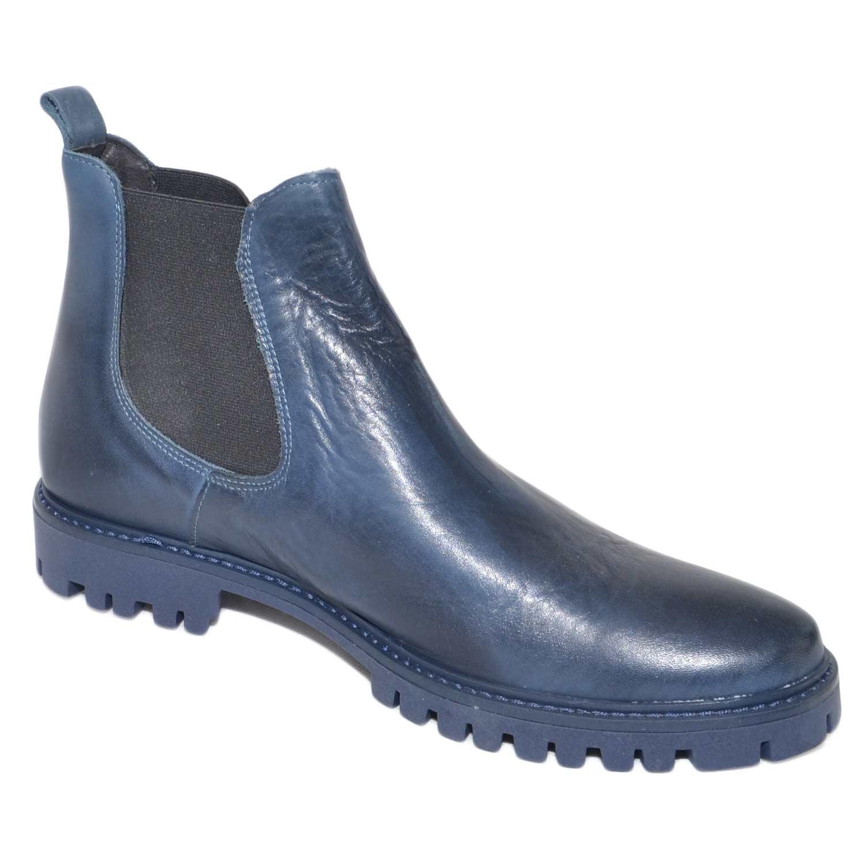 Scarpe uomo stivaletti fondo light roccia blu elastico blu vera pelle made in italy moda giovanile uomo beatles Malu Shoes   MaluShoes