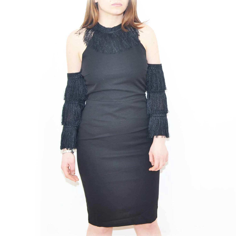 ace98122d7ff Vestito da donna in cotone nero con manica staccata stile charleston scollo  imperiale glamour.