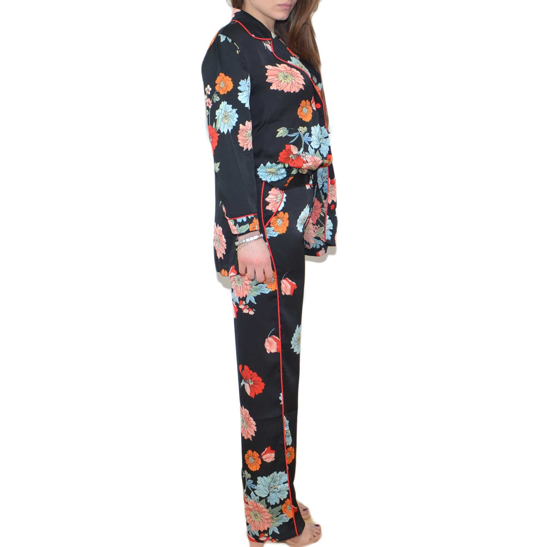 grandi affari sulla moda elegante 2019 professionista Completo abito stile pigiama con pantalone giacca con bottoni, fantasia  floreale colorata moda glamour donna tailleur made in italy | MaluShoes