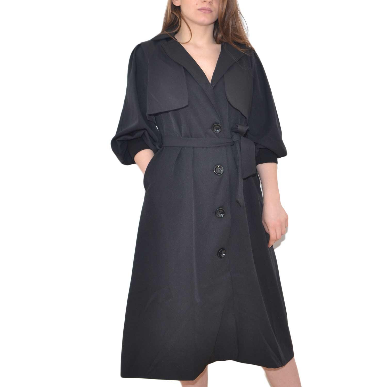 trench donna nero manica a sbuffo estivo cintura in vita bottoni anni 30 donna giacche made in italy   MaluShoes