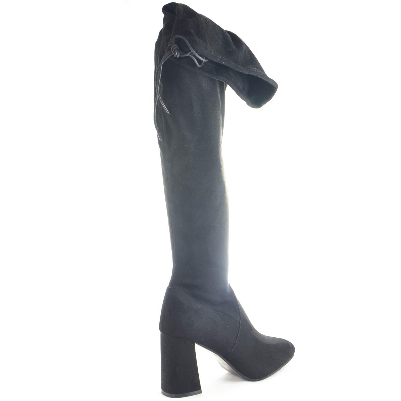 Stivali alti camoscio donna al ginocchio con con con tacco comfort nero ... 6c06a2