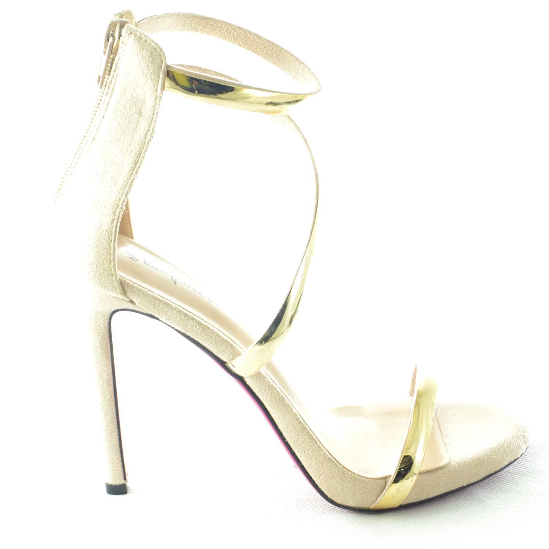Sandalo elegante tacco a spillo in camoscio nude con fascette gold e ... 76e9a3361ed