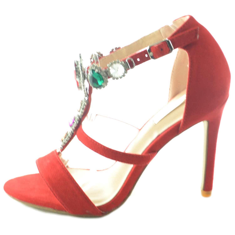 Sandalo rosso alto donna gioiello con tacco a spillo linea luxury pietre frontali colorate a forma di gemme donna sandali tacco Malu Shoes | MaluShoes