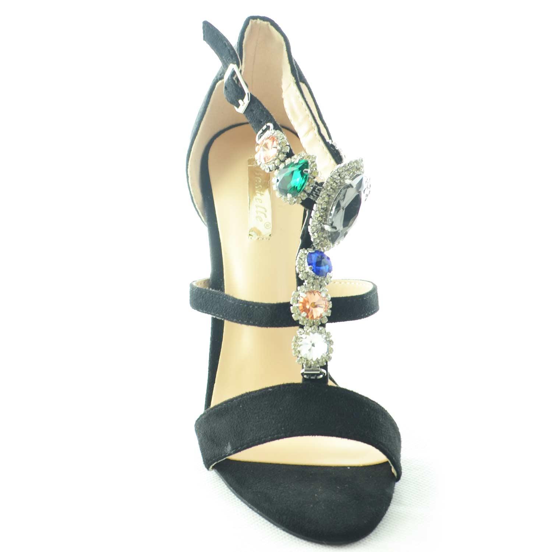 Sandalo nero alto donna gioiello con tacco a spillo linea luxury pietre frontali colorate a forma di gemme donna sandali tacco Malu Shoes | MaluShoes