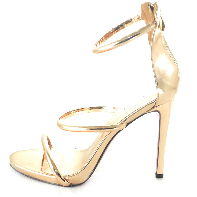 nuovo stile 0f091 2ab43 Sandalo elegante tacco a spillo specchio oro rosa con fascette simmetriche  a tre glamour linea luxury donna sandali tacco Malu Shoes | MaluShoes