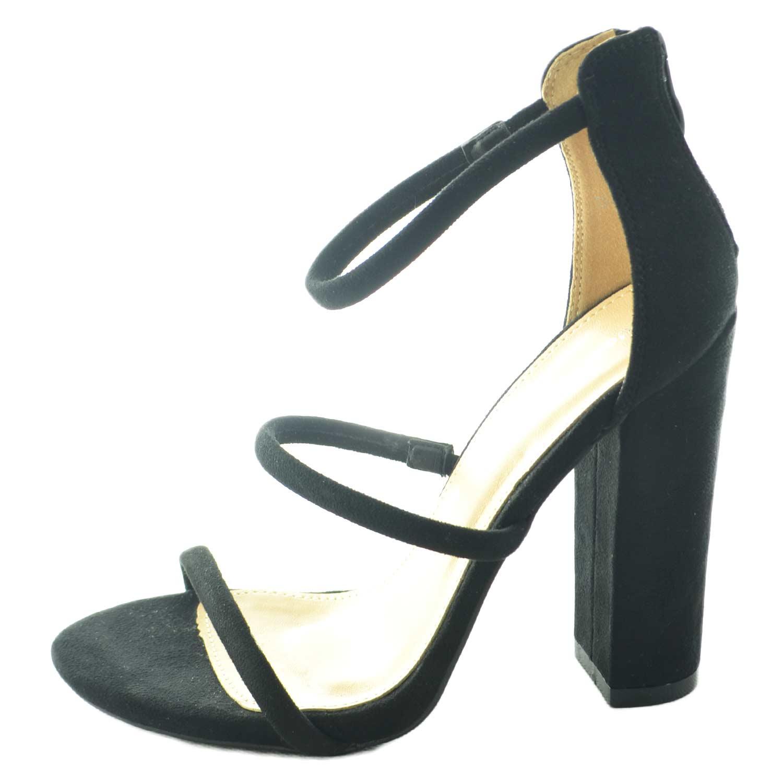 Sandalo Con Nero Tre Donna Tacco Largo In Camoscio E Decorazione CxsQrdhBto