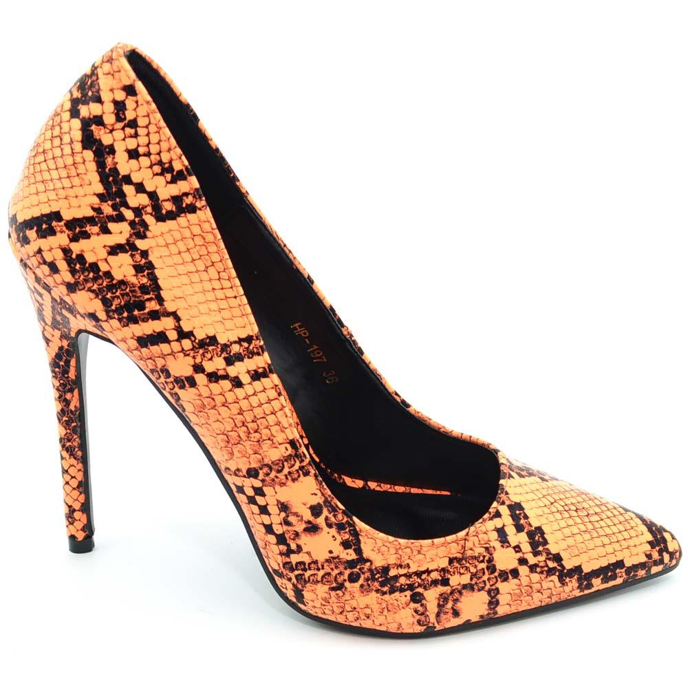 official photos 967bc a4626 Decollete donna a puntafantasia animalier pitonato arancio neon tinta unita  tacco 12 a spillo basic glam moda zara donna dcollet Malu Shoes | ...
