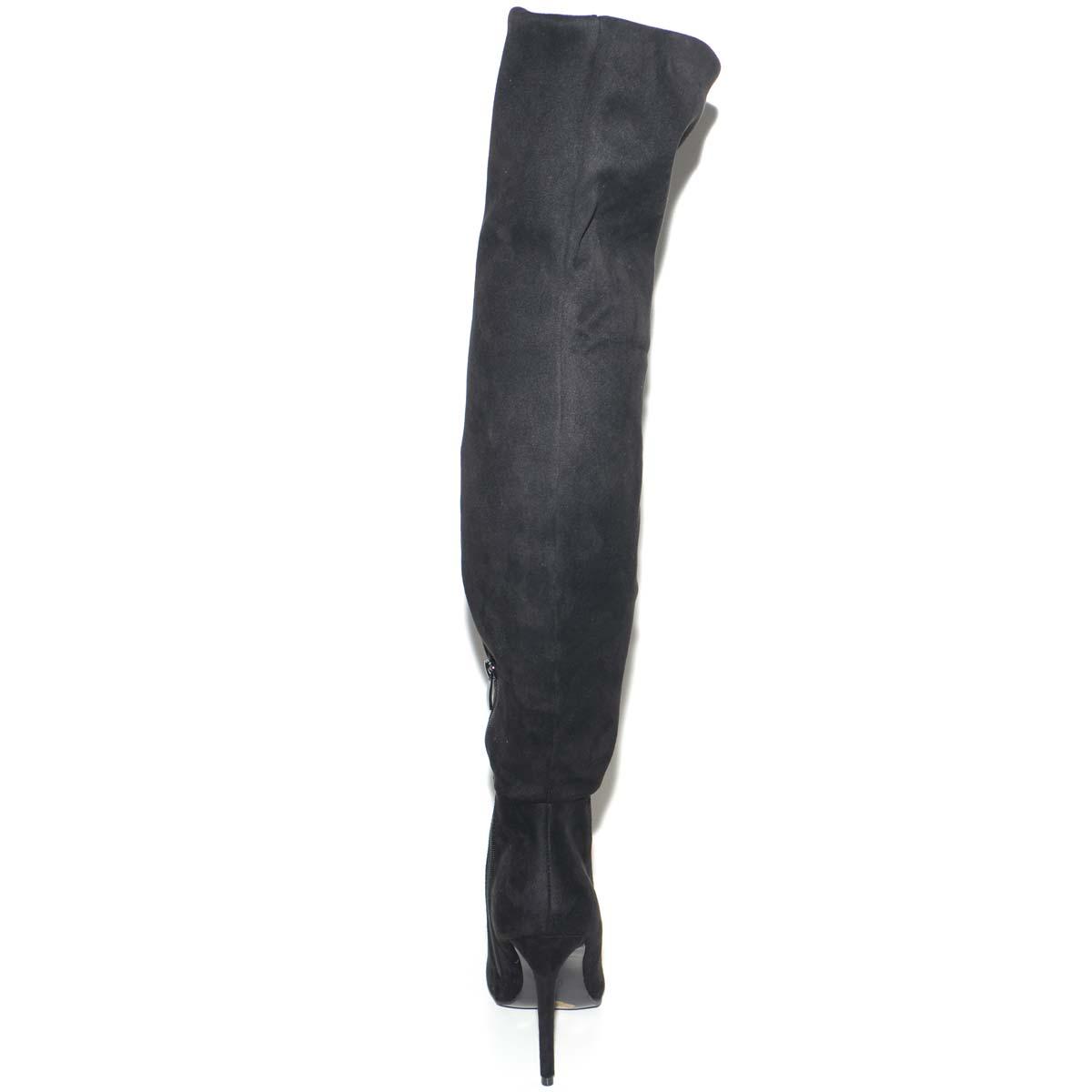 Stivali donna in camoscio nero alti sopra il ginocchio a punta con tacco a spillo moda tendenza made in italy BM180 donna stivali Malu Shoes |