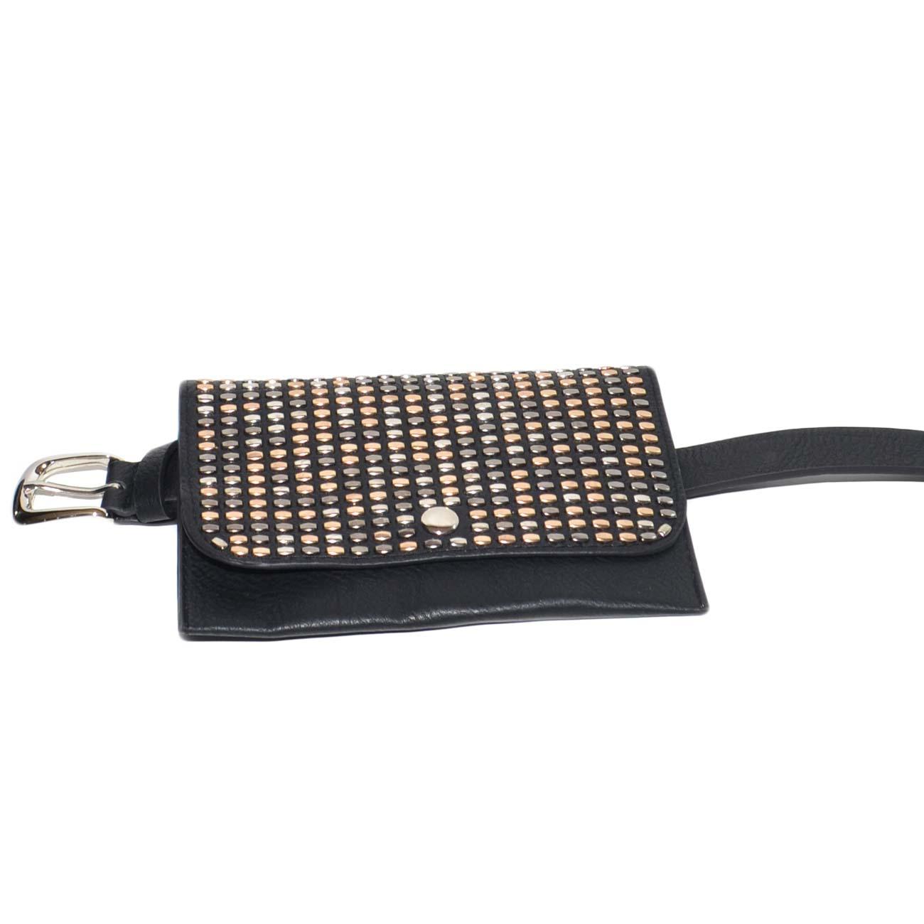 limpido in vista completo nelle specifiche moda più desiderabile Cintura donna sottile nera in ecopelle 3 cm con borsello annesso borchiette  glamour moda marsupio donna cinture Malu Shoes | MaluShoes