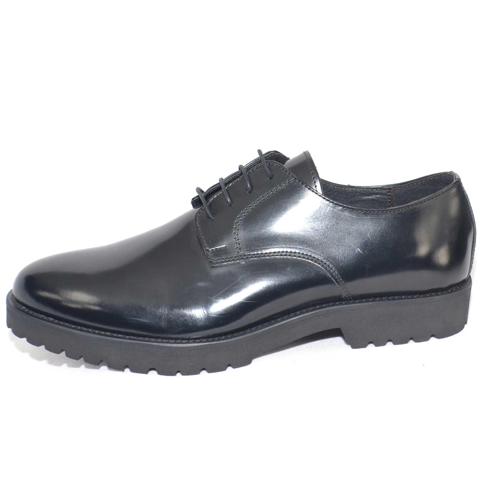 scarpe uomo stringate vera pelle abrasivato nero lucido made in italy fondo antiscivolo artigianale cerimonia elegante uomo stringate Malu Shoes  