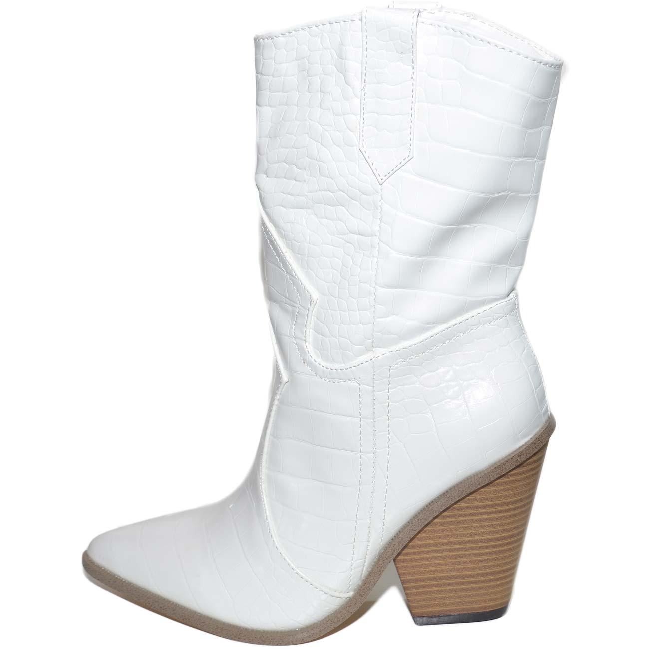 Tronchetti donna camperos texani bianchi a punta tacco cono pelle stampa pitonata moda tendenza altezza media donna tronchetti Malu shoes | MaluShoes