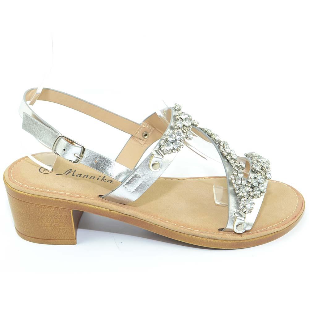 Sandalo gioiello basso argento donna positano con suola ...