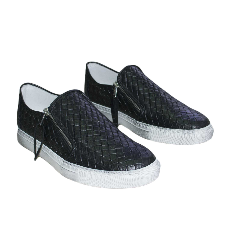 Scarpe Nero Uomo Sneakers Pelle Bassa Intrecciata Bianco Fondo yb6f7Yg
