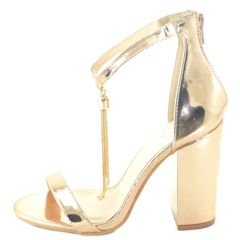 Nuovi Prodotti 224e3 d8a0e Sandalo tacco comfort aperto in specchio oro rosa con tacco largo e  cinturino glamour con ciondolo linea luxury donna sandali tacco Malu Shoes  | ...