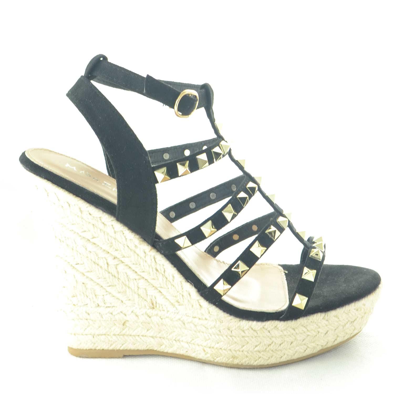 c3a5c81c3a Calzature donna art.wi8933 camoscio nero riporto in paglia moda comfort  borchie oro donna zeppe WILADY | MaluShoes
