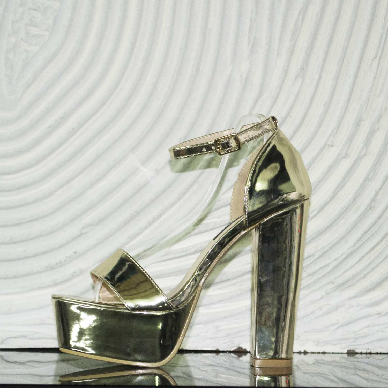 Chic Glamour Alto Tacón Laminado Sandalia Tacón Monocromo Zapatos Dorado LRj54A