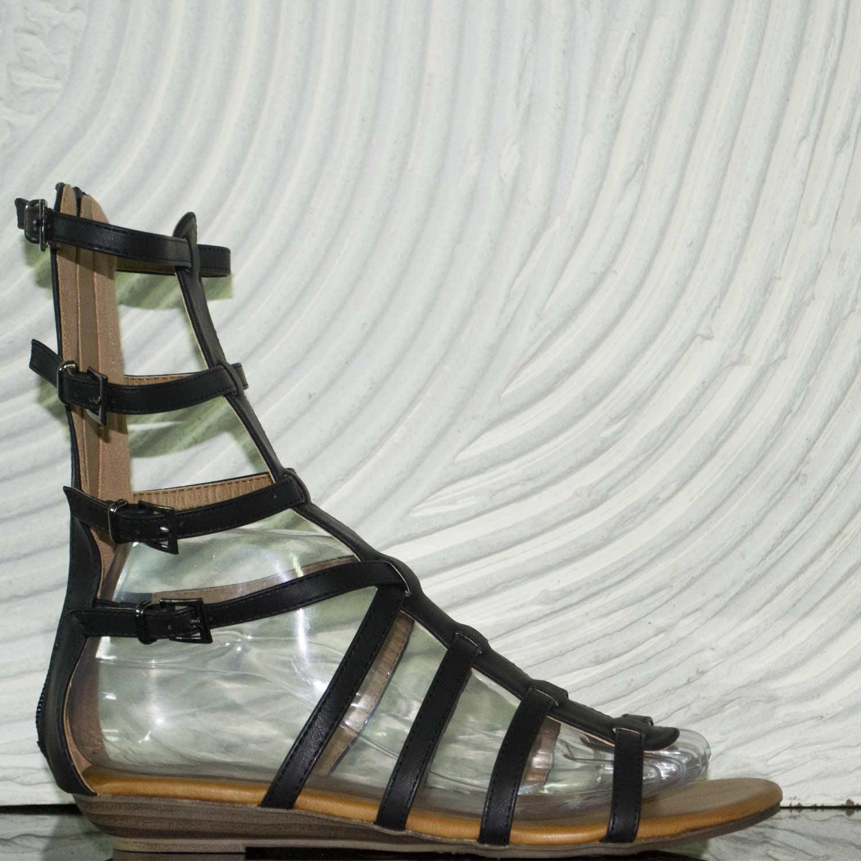 scarpe donna sandalo schiava pelle nero interno cuoio cinturino tacco basso donna sandali bassi ragnetto Malu Shoes | MaluShoes