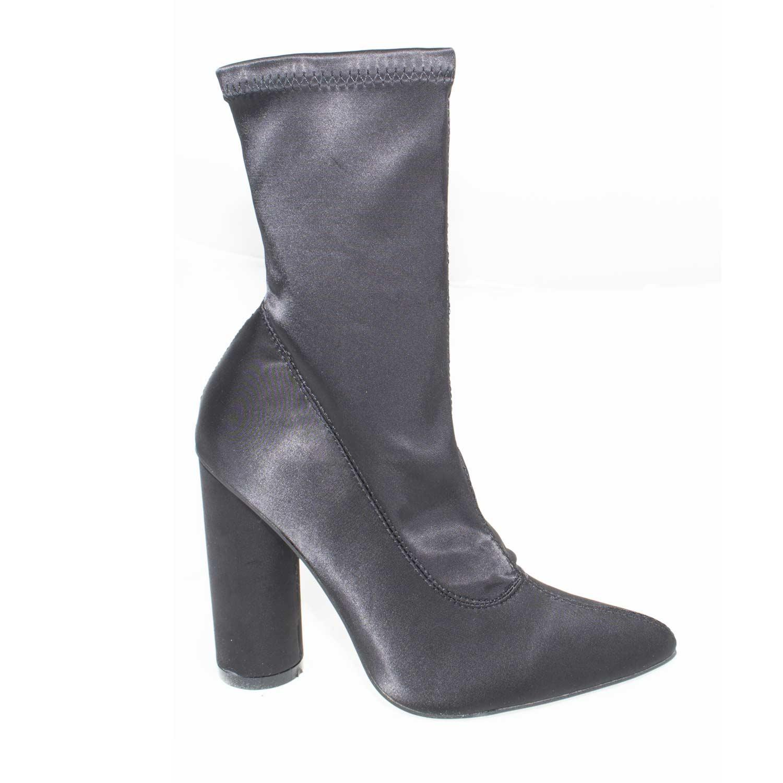 tronchetto in tacco punta a donna art raso n343 elasticizzato scarpe gn56ZwWq6