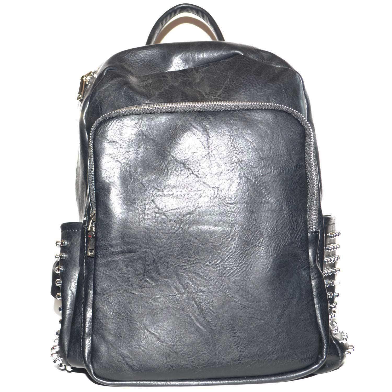 nuovo arrivo 257cc abfb4 Zaino borchie argento nero ecopelle zaini borchiati nuova collezione uomo  zaini made in italy | MaluShoes