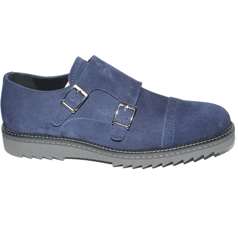 Scarpe uomo doppia fibbia eleganti in camoscio blu avion con fondo furia grigio e guardolo in tinta handmade in italy uomo doppia fibbia Malu Shoes |
