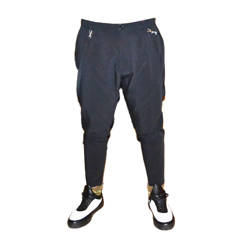 pantalone fashion turco uomo man con risvoltino nero righe