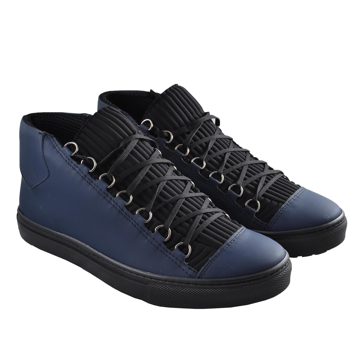 Sneakers Alta Balen in pelle blu uomo sneakers alta Made in Italy | MaluShoes