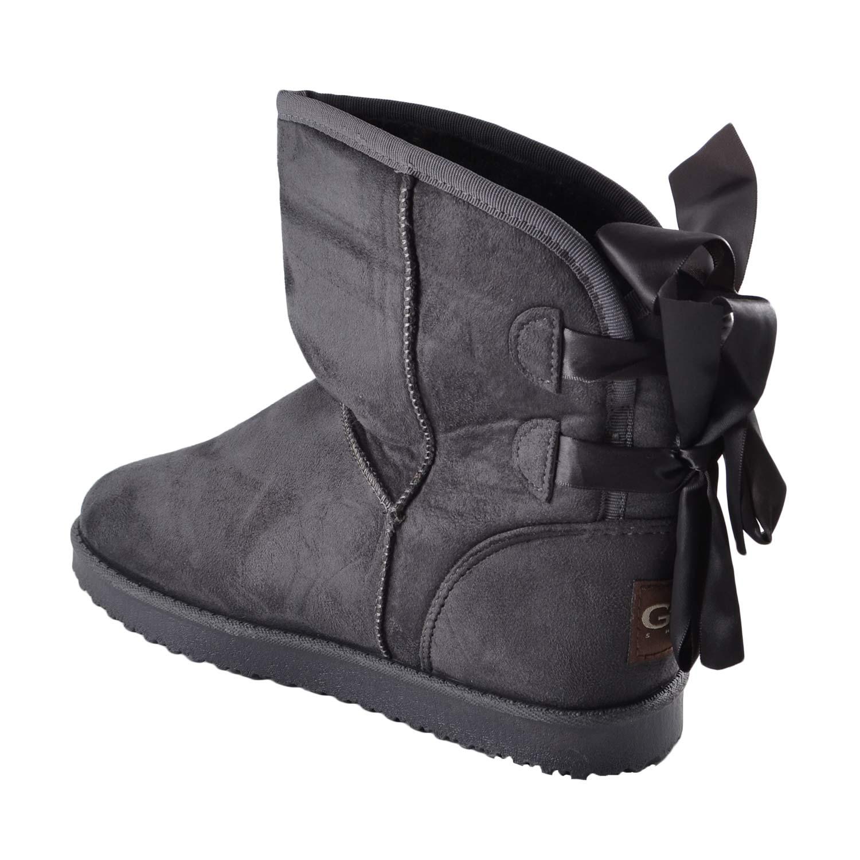 Stivaletto invernale con pelliccia dettaglio fiocco donna stivali imbottiti GO GO   MaluShoes