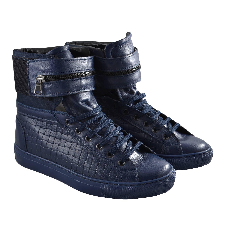 d0dcb2381c Sneaker Alta in pelle intrecciata blu uomo sneakers alta Made in Italy |  MaluShoes