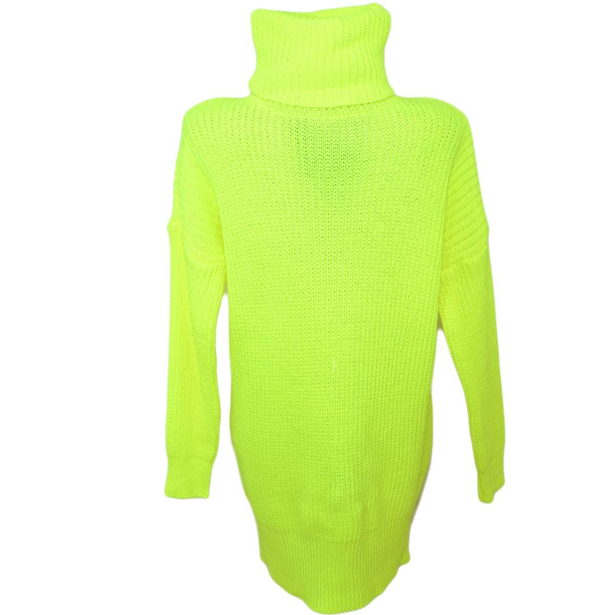 0250cc67dcba Maxi pull dolcevita donna giallo fluo lungo vestitino a collo alto maniche  lunghe tessitura larga moda. Passa il mouse sopra per eseguire zoom