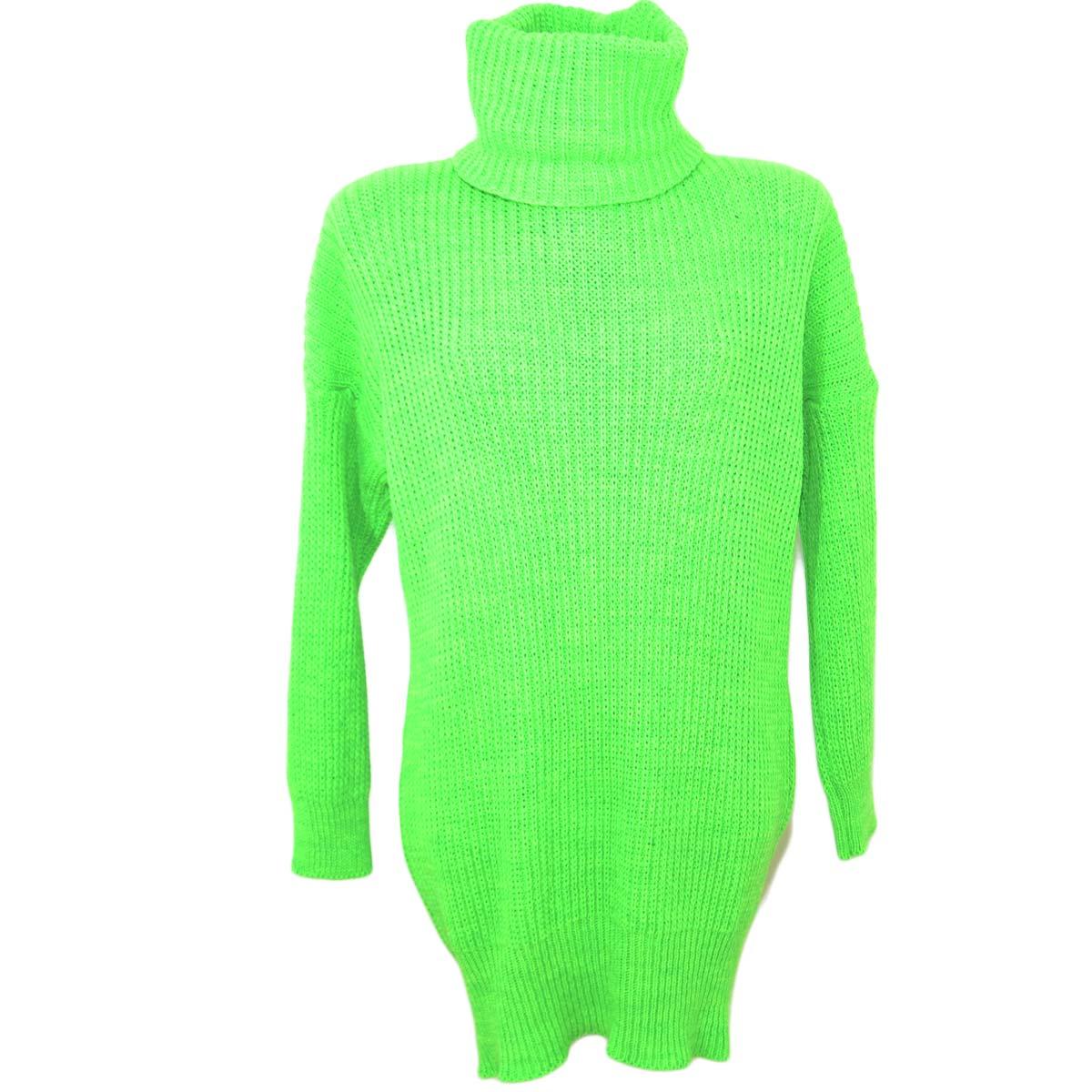 miglior sito web c7e43 23831 Maxi pull dolcevita donna verde fluo lungo vestitino a collo alto maniche  lunghe tessitura larga moda tendenza donna maglioncini made in italy | ...