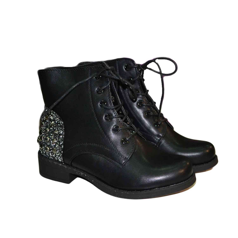 scarpe casual cercare scarpe esclusive Stivaletto donna con lacci borchie e glitter argento nero fondo comfort  donna anfibi Malu Shoes | MaluShoes